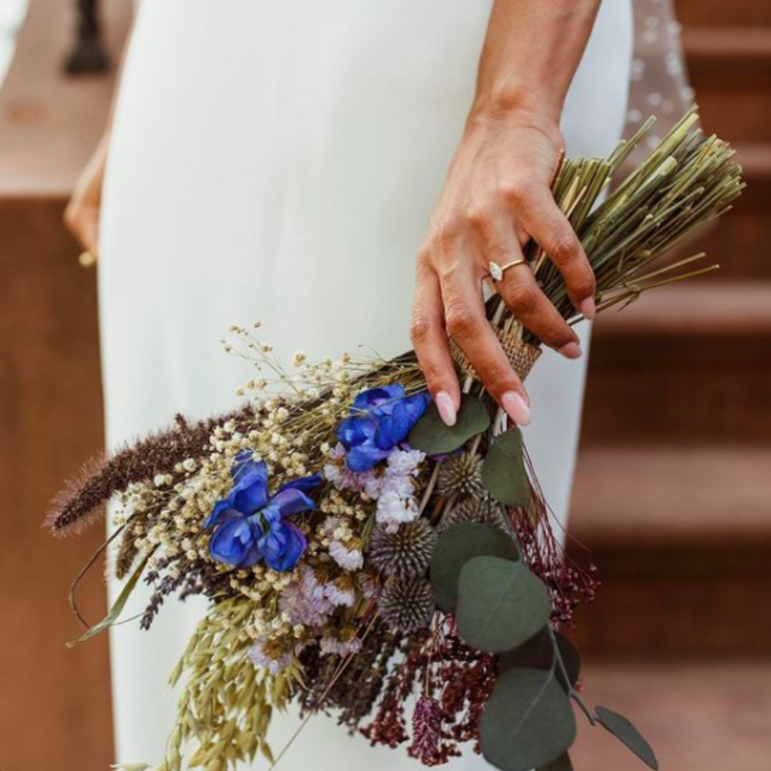 A. Merisier Events Bride Lorena with Dried Floral Bouquet