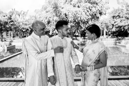 South Asian Groom with Parents